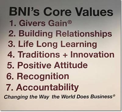 BNI Austin, Dallas, Fort Worth, San Antonio and Waco Core Values